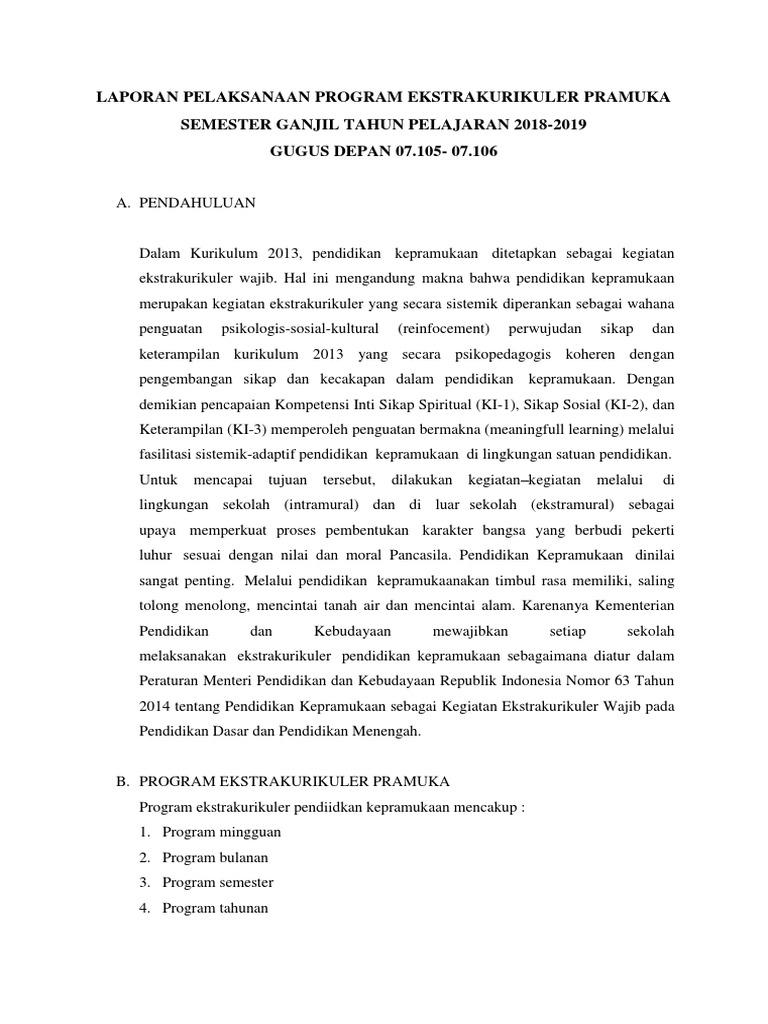 Download Laporan Kegiatan Ekstrakurikuler Pramuka Sd