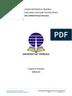 Latihan Soal Ujian UT Ilmu Administrasi Negara ISIP4110 Pengantar Sosiologi