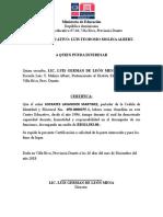 Carta de Trabajo Luis Molina