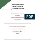 Exemple de menu proposé au Centre Léon Bérard