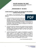 COMUNICADO PNP N° 39 - 2018