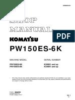 Komatsu PW150ES-6K Hydraulic Excavator Service Repair Manual SN:K34001 and up.pdf