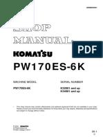 Komatsu PW170ES-6K Hydraulic Excavator Service Repair Manual SNK30001 and up.pdf