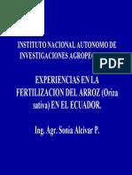 9 Experiencias en La Fertilizacion de Arroz Alcivar S