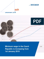 Minimum wage in the Czech Republic is increasing from 1st January 2019