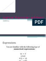 Algebraic Expressions and Terms