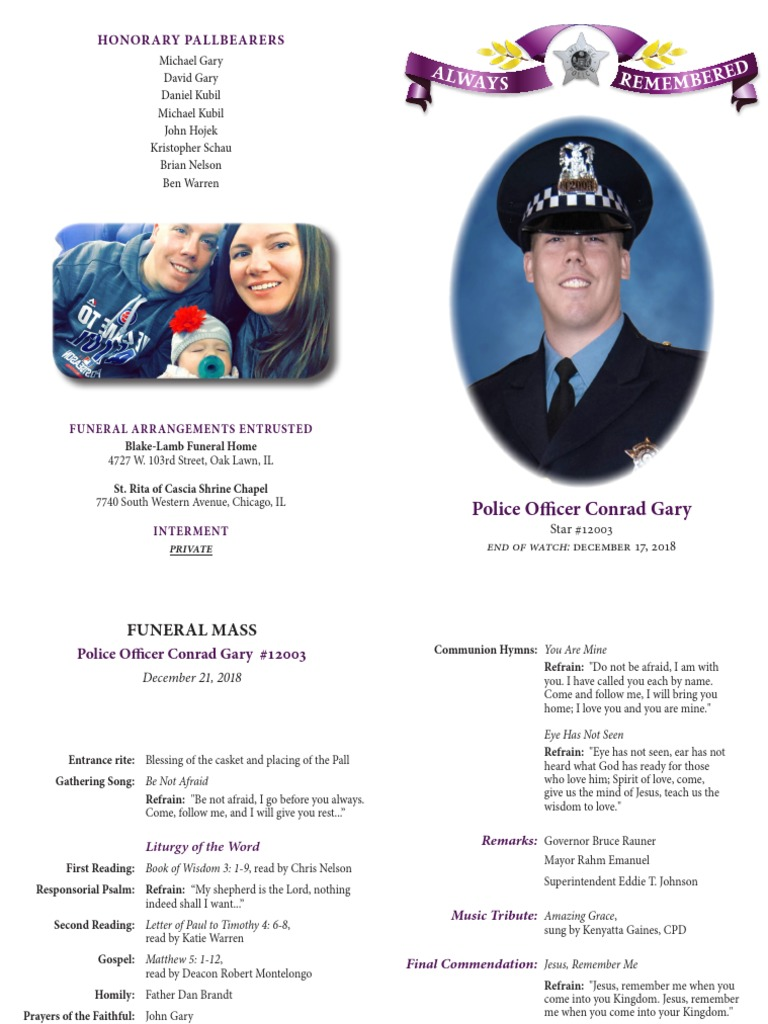 Program of services for fallen Chicago police Officer Conrad