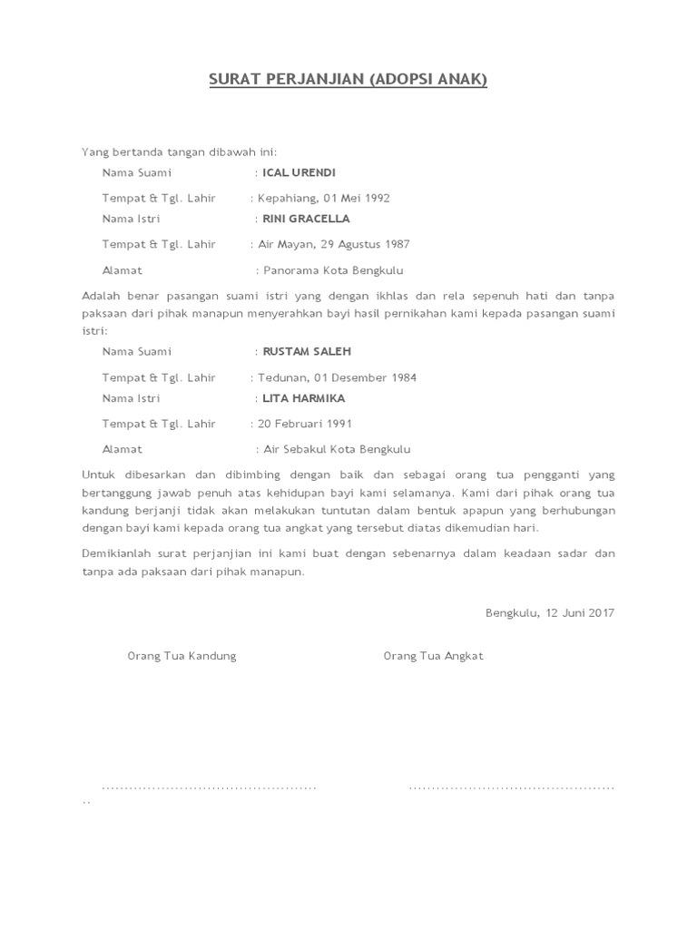 11++ Contoh surat perjanjian untuk adopsi anak terbaru terbaru