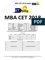 MBA CET 2018 Question Paper MAH MBA MMS DTE With Solution PDF