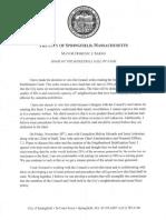 Mayor Domenic Sarno's veto of an order establishing a special fund for neighborhood stabilization.