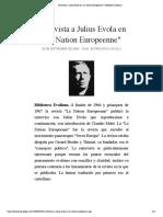 "Entrevista a Julius Evola en ""La Nation Europeenne"" | Biblioteca Evoliana"