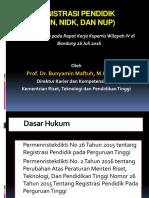 Presentasi Registrasi Pendidik NIDNNIDK Dan NUP Oleh Prof. Dr. Bunyamin Maftuh M.pd . M.a.