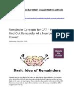 1.Remainder Based Problem in Quantitative Aptitude