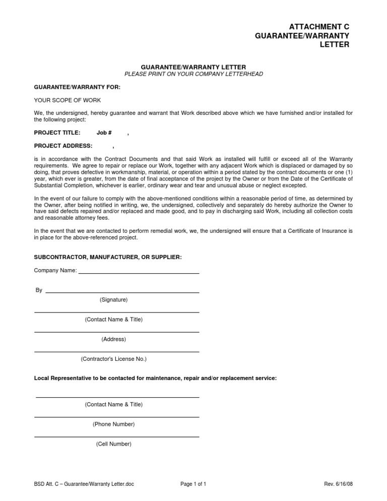 Guarantee letter document thumbnail directors guarantee template subcontractor guarantee letter paxton construction bsd sample warranty letter spiritdancerdesigns Images