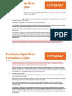 Condições Específicas Fechadura Digital