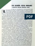 Recensión de Pedro Romero Mendoza del libro Por la Geografía Cacereña. Fiestas Populares de Valeriano Gutierréz Macías