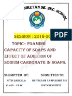 Chemistry project class 12th - foaming capacity of soaps and effect of addition in it.