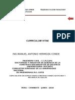 Curriculum Vitae Ing.manuel Hermoza Conde 2016 ACTUALIZADO