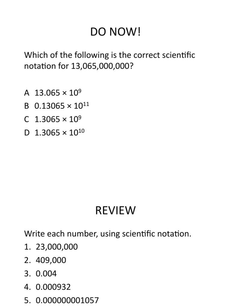 Lesson 255 - Part 25: Scientific Notation  PDF  Numbers