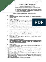 GKU Syllabus Ph D Course Work RM