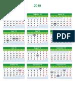 Calendario Anual 2019