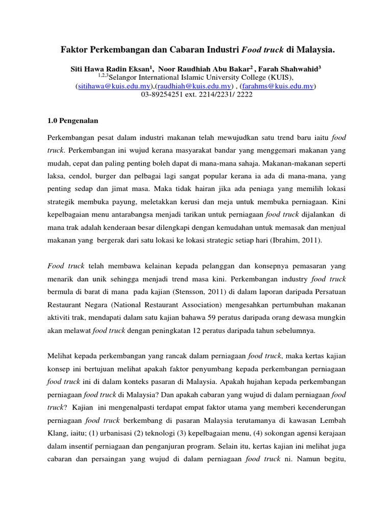 Faktor Perkembangan Dan Cabaran Industri Food Truck Di Malaysia