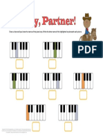 Piano Worksheets Names of Keys Cowboy