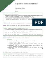 Cours - Arithmetique Des Entiers Relatifs