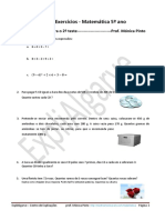 Teste MATEMATICA 5 ANO