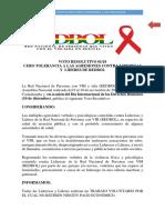 Voto Resolutivo 1 de 18 Cero Tolerancia a Violencias contra líderes y lideresas de REDBOL