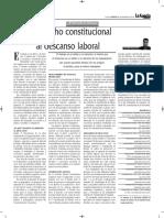 Derecho Constitucional Al Descanso Laboral - Autor José María Pacori Cari