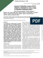 Rasko 2004 the Genome Sequence of Bacillus Cereus ATCC