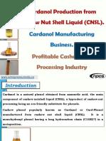 Cardanol Production from Cashew Nut Shell Liquid (CNSL)