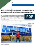 Una nueva adjudicación del Canal de Isabel II por 24 millones de euros levanta sospechas (eldiario.es, 13-03-16)