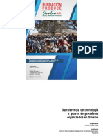 Transferencia de Tecnología a Grupos de Ganaderos Organizados en Sinaloa