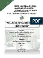 Polaridad de Transformadores Monofásicos