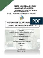 Conexión en Delta Abierto de Dos Transformadores Monofásicos