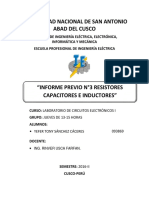 INFORME PREVIO N°3 RESISTORES CAPACITORES E INDUCTORES