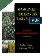 Ruang Lingkup Pertanian Dan Pengembanganya