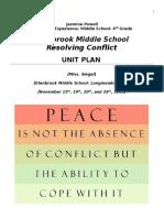 resolving conflict health unit plan 6th grade