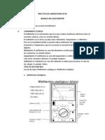Practica de Laboratorio nro. 02 Manejo Del Multímetro