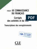 TCF 250 Corriges Des Activites Et Du Test