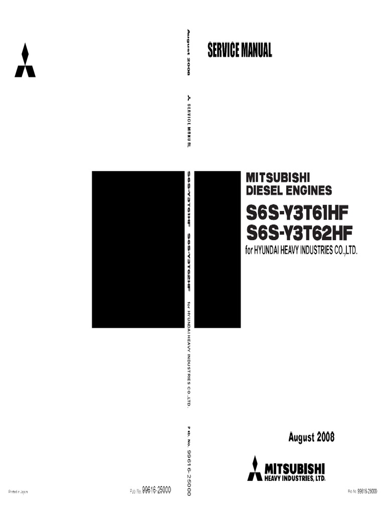 Mitsubishi S6S-Y3T61HF Diesel Engine Service Repair Manual