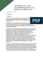 La Libertad Sindical y Los Contratos Temporales en Las Microempresas y Medianas Empresas