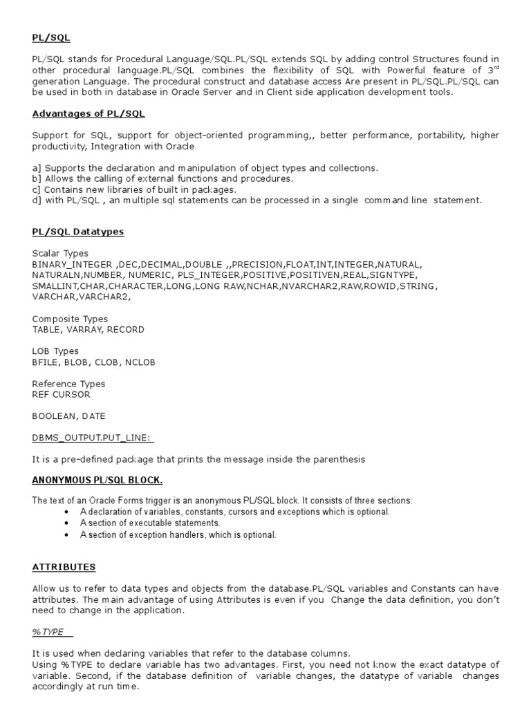 Pl sql notes only plsql subroutine baditri Choice Image