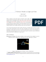 Glossary for Newton's Studies on Light and Color