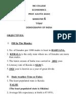 Demographic Features of India's Population(2017)QUIZ