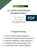 Tata Kelola Jurnal Menuju Akreditasi Online