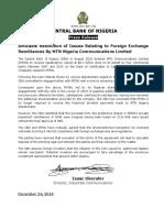 CENTRAL BANK OF NIGERIA Press Release on MTNN Remitances
