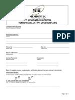 MIT Vendor Evaluation Questionnaire Form